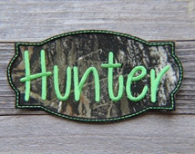 """Iron-on Name Patch Applique, Mossy Oak Camo & Lime Green, 4"""", 5"""", 6"""", or 7"""""""