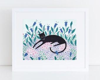 Cat Among Flowers Art Print | Cat Print | Cat Illustration | Cat Art | Gift for Cat Lover | Pet Lover | Cute Cat Print | Wall Art | Folk Art