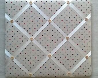 Handmade - Memo / Pin Board in Multi Coloured Spots Cotton/Linen fabric - 45cm x 40cm