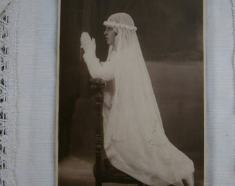 Vintage Communion photography. 1930s.Gift. Ephemera.Religious photo.Girl in Communion dress.Collectible.Vintage ceremony.To frame. Sephia.