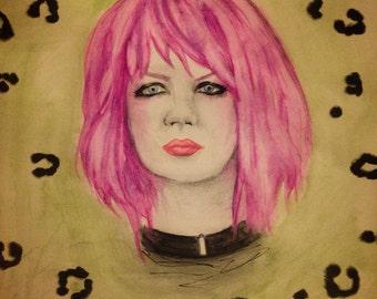 "Strange Little Bird. 8""X 10"" Shirley Manson Garbage watercolor"