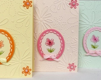 Embroidered Floral All Occasion Card Set (3), Handmade Card Set, Embroidered Card Set, Handmade Gifts, Floral Greeting Cards,Floral Card Set