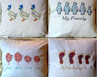 Bird Chick Pig Giraffe Geese Penguin Owl Feet Family Embroidered Cover - Tartan
