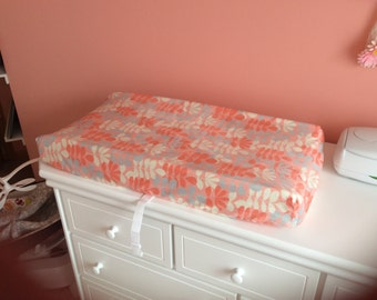 Minky peach, coral, grey and cream changing pad cover