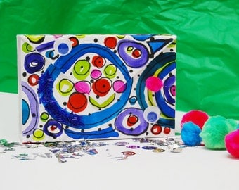 HandPainted Clutch - Drawings by Erba Voglio