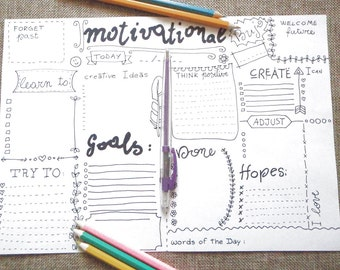 motivational journal printable planner agenda spirituality bullet journaling organizer notebook diary positivity download lasoffittadiste