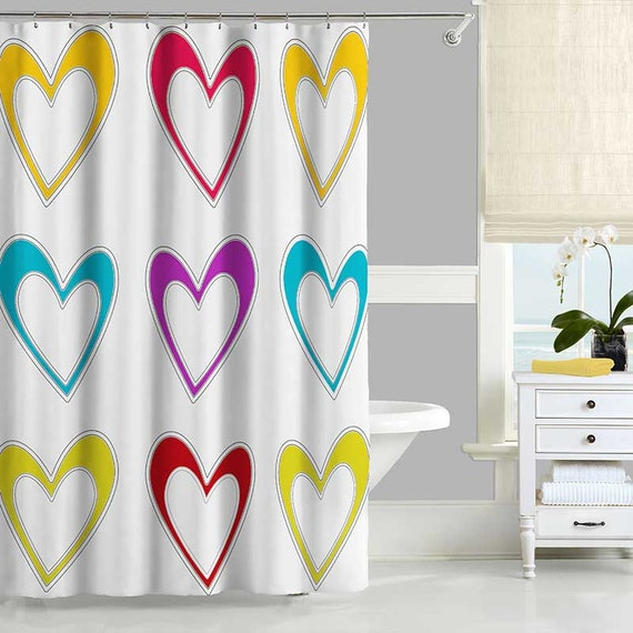 Long Shower Curtain Colorful Shower Curtain White Shower