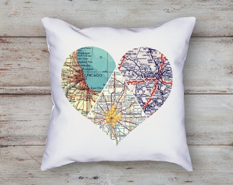 Heart Map Pillow | 3 piece Heart | Personalized Map Decor| Heart Map Decor | Wedding Gift | State to State | Long Distance Gift