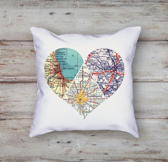 Heart Map Pillow 3 piece Heart Personalized Map Decor