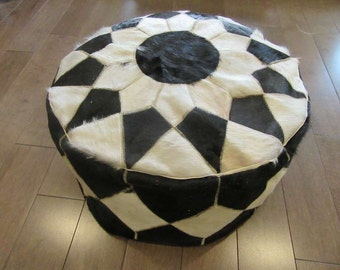 "100% Authentic Egyptian Genuine Hair Cowhide Leather Patchwork Ottoman Pouf X-Large...(12""x24"" Inches)"