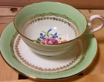 Serene Green Royal Grafton Teacup and Saucer