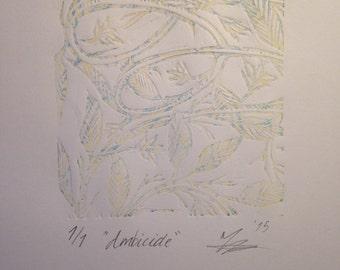"""Unique Linocut Print """"Ambicide"""""""