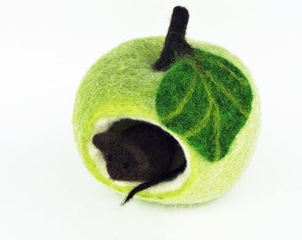 Felted mouse in Apple green. Filzdeko, seasonal decor, anthroposophic. Brown mouse needle felted. Felt fruit, felt fruit. TaFiOLand