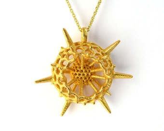 Large Plankton Spumellaria Pendant-a spiky Radiolarian-marine biology - science jewelry in bronze, brass, silver & gold-plated steel