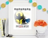Mature BatCat, Gift for Him, Gift for Her, Boyfriend Gift, Girlfriend Gift, Poster Print, Comic Book Art, Art Print, Cat Lover Gift, Cat Art