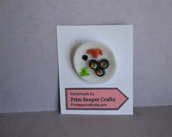 Sushi plate brooch with pickled ginger, wasabi, carrots and soy sauce