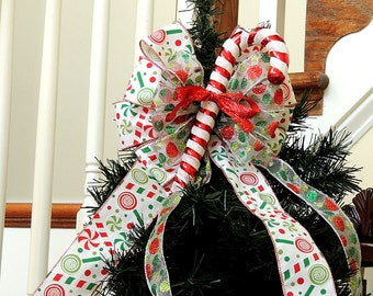 READY To SHIP Candy Cane Christmas Tree topper Bow Wreath Bow Christmas Topper Bow Tree Topper Swag Mailbox Bow Christmas Garland Bow