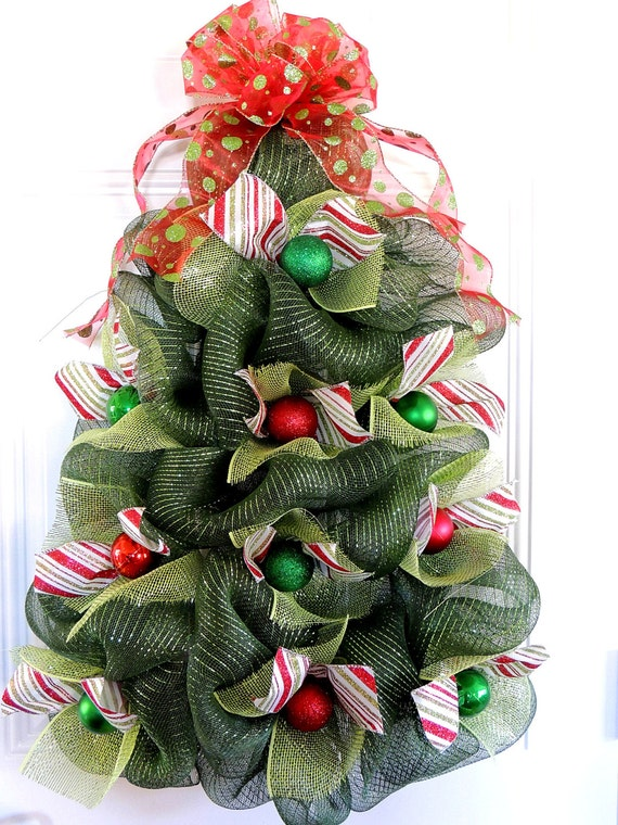 large christmas tree wreath deco mesh christmas wreath whimsical tree door hanger christmas front door wreaths mothers day gift - Large Christmas Tree