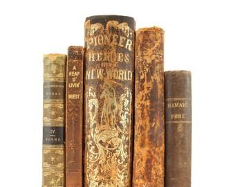 Rustic-Brown Books, Interior Book Decor, Wedding Centerpiece, Used Books, Vintage Book Set, Home Decoration, Antique Books