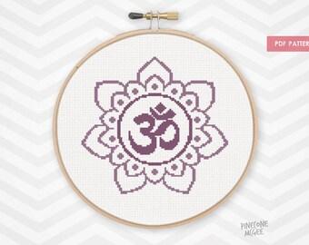 PURPLE OM FLOWER counted cross stitch pattern, zen meditation home decor xstitch gif, easy aum lotus mandala symbol, yoga mantra decoration