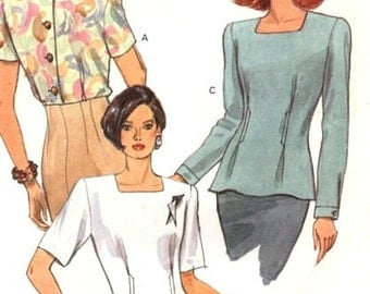 Vogue Pattern 8257 Very Easy Semi-fitted Blouse Sz 12-14-16 UNCUT