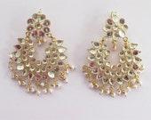 Gold Kundan White Beads Earrings Tikka/Indian Jadau Earrings/ Golden Bollywood Earrings/ Punjabi Mughal Muslim Style Earrings/Kundan Jewelry