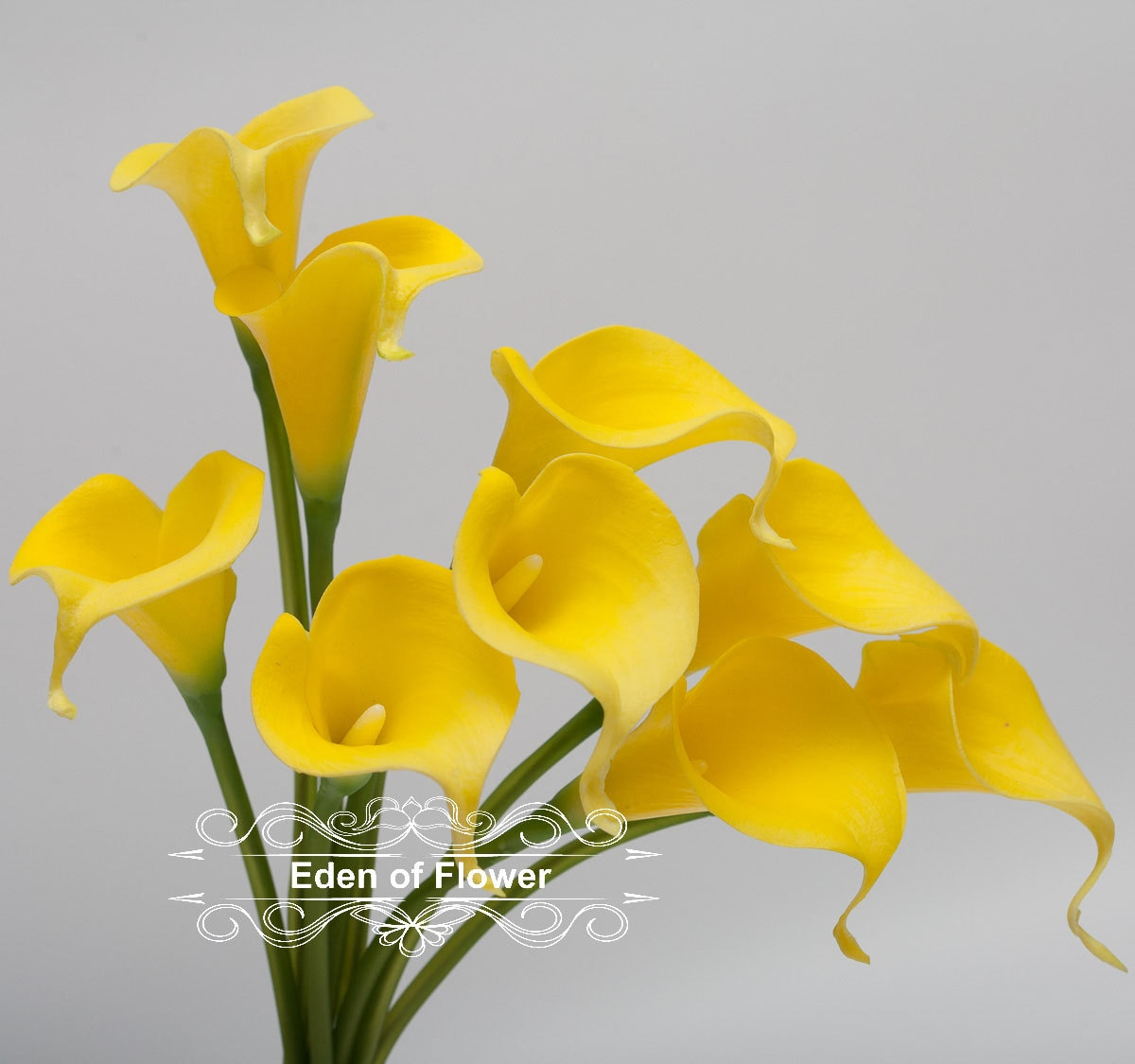 Yellow Calla Lilies Real Touch Flowers for Bridal Bouquets