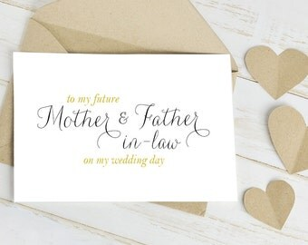Mother And Father In Law Cards To My In Laws Greeting Card Wedding Day Card Is Blank Inside For Your Personal Message