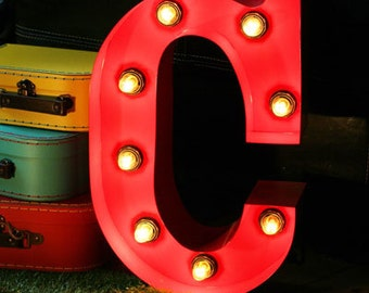 "15""/ 38cm Mains Powered Vintage Marquee Letter Light - Letter C - Floor Light - Letter Prop/Display - Available in Rusty or Red"
