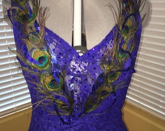 Lace blue feathers Latin dance dress