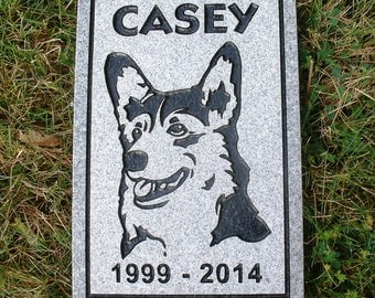 "Pet memorial stone 12 x 8"" gray granite"
