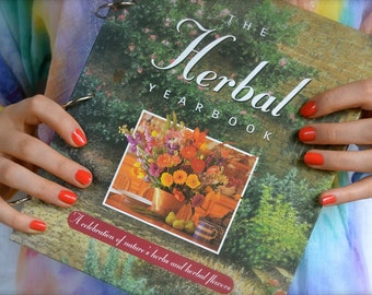 Herbal handbook with blank pages, smash book or art journal, mixed media planner, junk journal