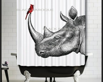 Rhino and Cardinal Shower Curtain - Rhinoceros Bird Red wedding new home Shower Curtain