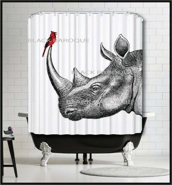 black white red shower curtain. Like this item  Rhino and Cardinal Shower Curtain Rhinoceros Bird Red