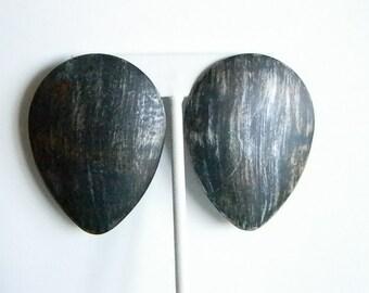 Black Copper Silver Color Inverted Large Tear Drop Pierced Earrings