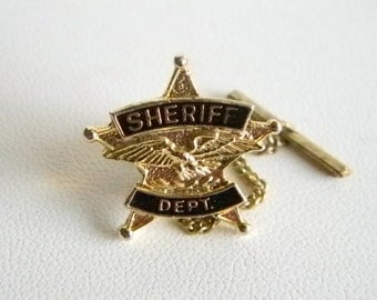 "Gold Tone Black Enamel ""Sheriff Dept"" Tie Tack Lapel Pin"