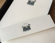 Writing Paper Boxed set with Vintage Typewriter  Illustration.  Box size 12, 18or 36