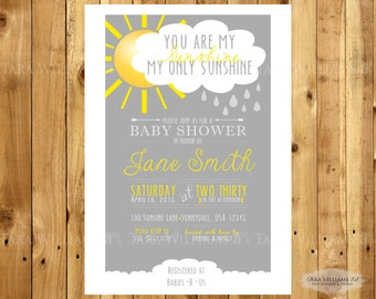 You Are My Sunshine Baby Shower Invitation Gray Yellow Printable Custom
