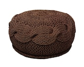 CHOCOLATE knitted POUF PLAIT / poliester  pouf/  floor cushion/ hypoalergic pouf/rope  poof /bean bag chair/ Ottoman/ footstool/ rustic pouf
