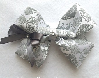 Grey Damask Hair Bow with Gem~ Grey Boutique Bow, Floral Hair Bow, Girls Hair Bow, Damask Hair Bow, Hair Accessories