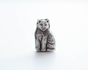 Cute Vintage Czech Glass Cat Beads, 25mm x 20mm, Unique, 4 pcs, Cat Charm