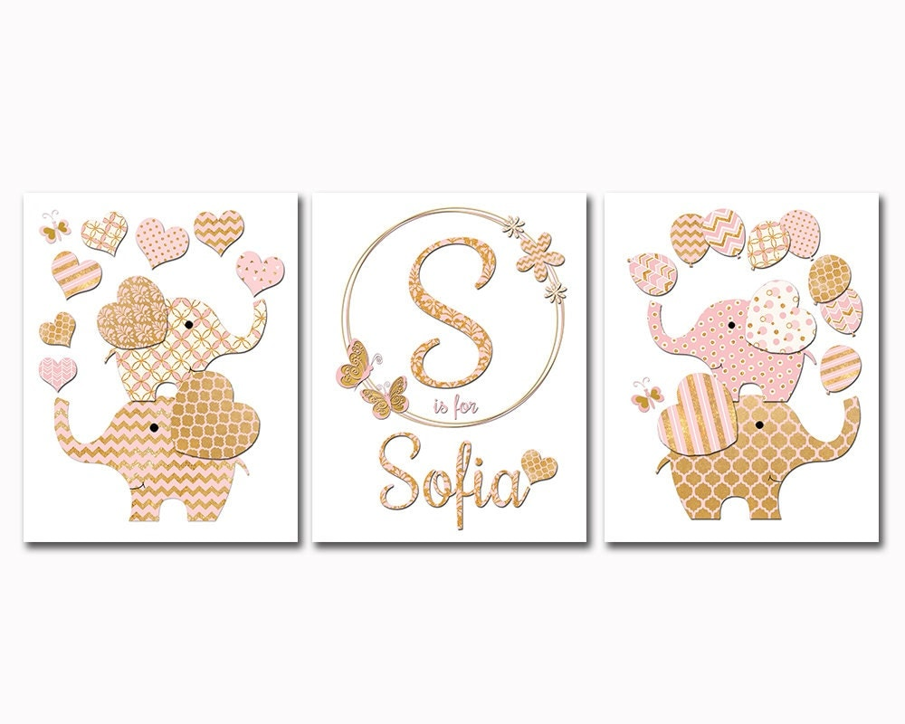 Gold Elephant Wall Decor : Gold nursery decor pink elephant wall art decoration for baby