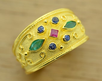 Byzantine Ring Rubies, Emeralds, Sapphires 925 Sterling Silver 22K Gold Plated - High Quality product