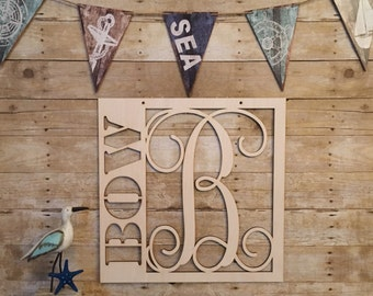 Wooden Monogram - Nursery Monogram - Wedding Monogram - Wooden Monogram Vine - Wooden Monogram Wall Hanging - Custom Wooden Monogram