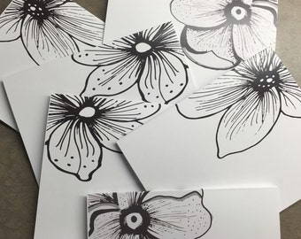 Black and White Note Cards, Flower stationary, blank note cards