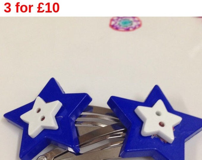 Blue and white star button children's hair clip, star hair clip, children's hair accessories, blue and white hair clip, button hair clip