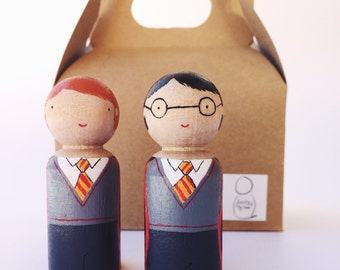 Harry Potter peg doll/Harry Potter cake topper/Wooden Harry Potter toy/Hermione/Ron/Malfoy/Harry Potter decor/Luna/Neville/Harry potter fan