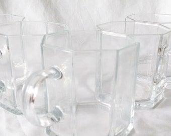 Art Deco Glass Mugs- Set of 6