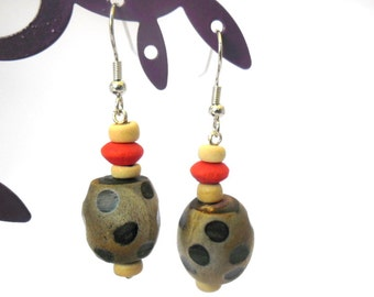 Earrings wooden beads