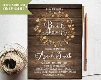 Rustic Bridal Shower Invitation Printable, Fall Bridal Shower Invitation, Autumn Invitation, Rustic Bridal Shower Fall, Country Bridal